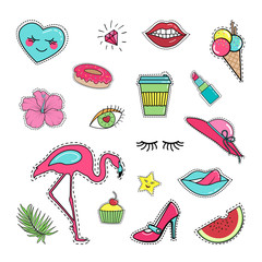 Fashion patch sticker badge collection set: lips, mouth, tongue, ice cream, donut, flower, coffee, cupcake, shoe, lipstick, flamingo, watermelon, star, hat, palm leaves. Isolated on white background.