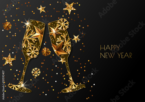 happy new year vector greeting card with two gold champagne glass holiday glowing black background