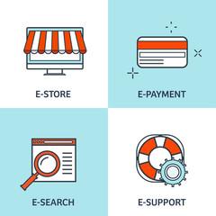 Vector illustration. Set of flat backgrounds with lined borders. Internet browsing, app development. Web surfing, global communication. Storage, database. Online banking.