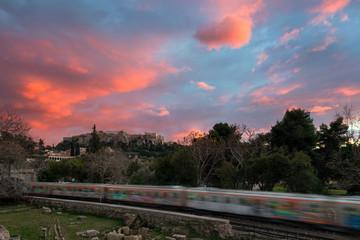 Beautiful winter sunset at acropolis hill , view from monastiraki