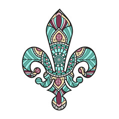 Vector illustration of colored lily flower symbol mandala, simbolo del giglio mandala colorato vettoriale