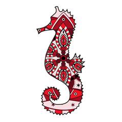 Vector illustration of a colored seahorse mandala, cavalluccio marino colorato vettoriale