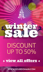 Winter sale pink banner with discount and special offer