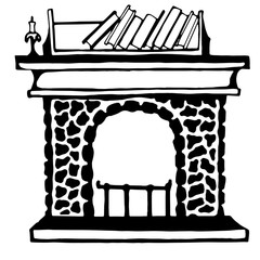 A sketch of the cosy fireplace . Hand-drawn style