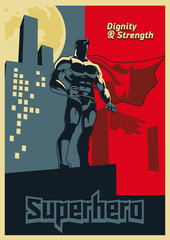 Superhero looks into the distance. Blue and red graphic poster.