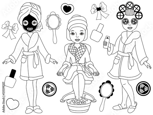 quotvector black and white spa girls setquot stock image and