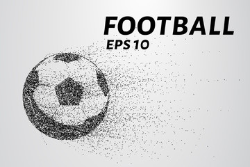 A soccer ball of particles. A soccer ball consists of small circles and dots.