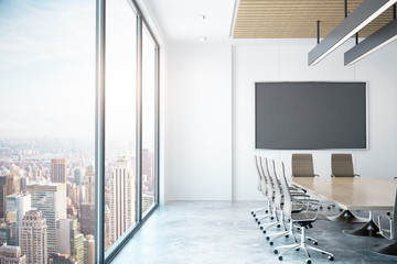 Modern conference room with city view