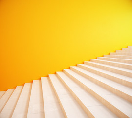 Blank yellow wall and stairs