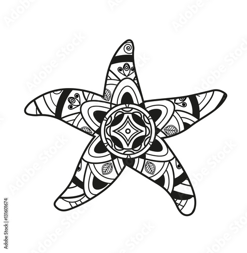 Vector Illustration Of Black And White Starfish Mandala For Coloring