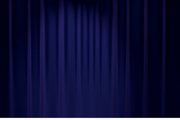 blue stage backdrop curtain classic theater background 3D render
