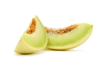 sliced honeydew melon isolated on white background