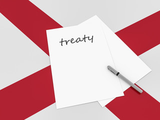 Treaty Note With Pen On Alabama Flag, 3d illustration