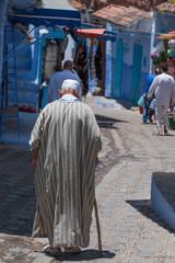 walking down a street