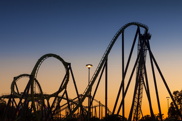 Roller Coaster Silhouette at Sunset