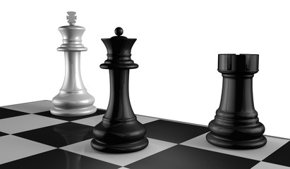Chess Board with King, Queen and Rook in Checkmate.