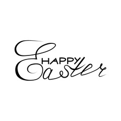 Happy Easter lettering. Hand drawn lettering poster for Easter. Ink illustration. Modern calligraphy. Happy Easter typography background.