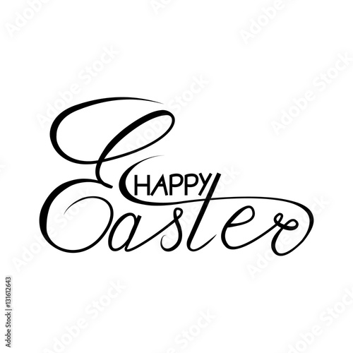 Quot happy easter lettering hand drawn poster for