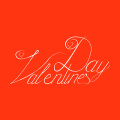 Valentine day hand lettering, handmade ink calligraphy scalable and editable vector illustration