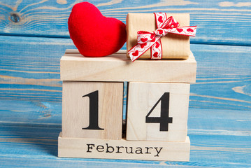 Cube calendar with gift and red heart, Valentines day