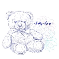 Teddy bear - soft toy, great gift for a child. Teddy bear sits on a background of flowers. The neck bears tied the bow. Vector illustration. Pencil sketch. Template for creating greeting cards.