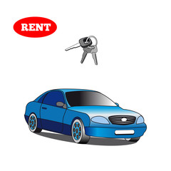 Car for rent with car key isolated on white background.