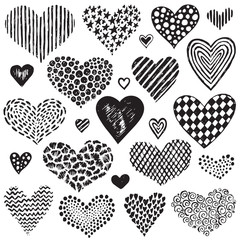 Vector collection of hand drawn sketch hearts.