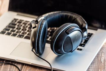 headphones on the laptop