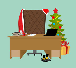 Empty Office Santa. Claus workstation. After work. Table and fir