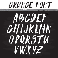Handwritten vector alphabet. Grunge texture.