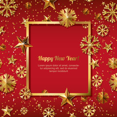 New Year concept. 3d gold stars and snowflakes with square frame on red background with place for text. Vector illustration. Design for for banner, flyer, party invitation, holiday greeting card.
