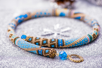 Beadwork. Beaded necklace. Winter. Handmade Jewelry. Blue.