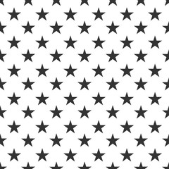 Seamless simple pattern with black stars on white background. Vector illustration
