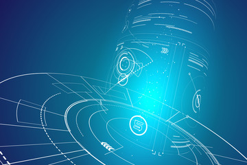 Futuristic three-dimensional interface, abstract graphic design.