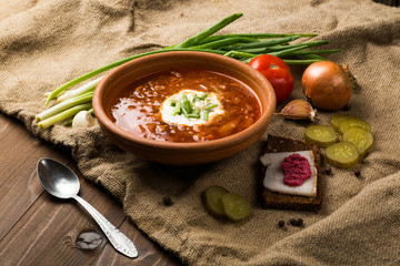 Ukrainian Lunch: soup, pickled cucumbers, garlic