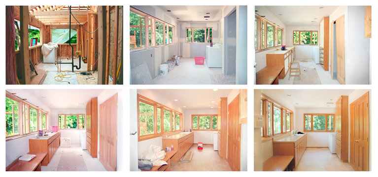 Progress of a laundry room remodel from framing through cabinets &  flooring. Note scanned from 35mm