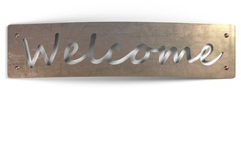 welcome sign metal copper plate isolated on white 3d illustration