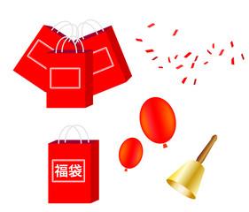 福袋、赤、正面、単体、ひとつ、単品、袋、鐘、ベル、風船、紙吹雪、セール、初売り、お年玉、