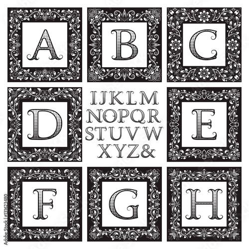 Vintage monogram kit. Black patterned letters and floral square ...