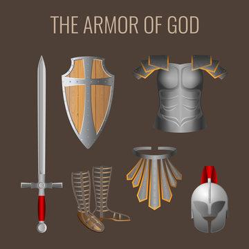 Long sword of spirit, readiness shield, armour salvation helmet, breathpate