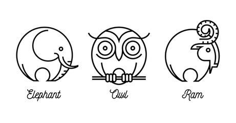 Abstract round line drawing of wild animal icons set with an elephant, ram and owl. Vector illustration.