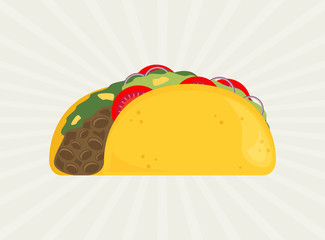 Taco vector illustration in flat style.