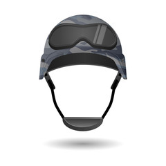 Military equipment for games. Helmet with glasses headwear element.