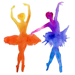 The ballet dancers. Dancers. Isolated on a white background. Watercolor illustration.