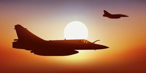 Avion de chasse - Coucher de soleil