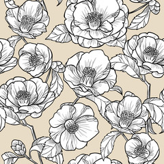 Flowers camellia on a beige background.Vector seamless pattern