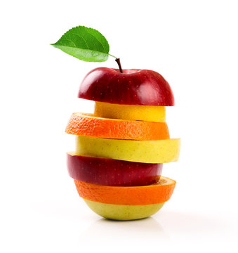 mixed fruit slices isolated on white