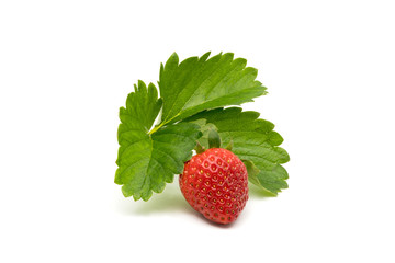 Fototapete - Ripe strawberry with leaves
