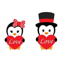 cute penguin set with heart and text