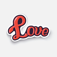 Vector illustration. Word love. Valentine's Day. Love inscription. Cartoon sticker in comic style with contour. Decoration for greeting cards, posters, patches and prints for clothes, emblems